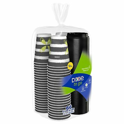 Dixie To Go Paper Cups  Lids, 12Oz, 66 Count, Disposable Insulated Cups and Lids