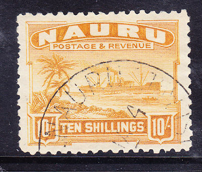 NAURU 1924 SG39A 10/- yellow - rough paper - very fine used. Catalogue £190