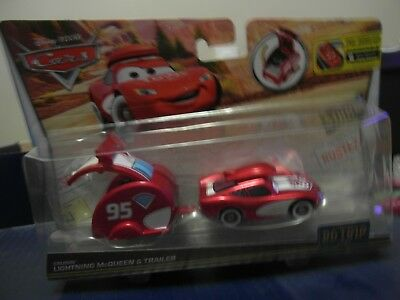Disney Pixar Cars Road Trip Lightning Mcqueen with Trailer Mattel 1.55 Scale