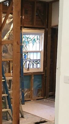 stained glass, leaded sash window. Good condition.
