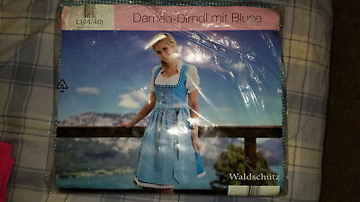 New - German Dirndl with Blouse - Light Blue - Womens L(44/46)