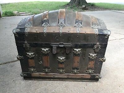 Antique Rare Romadka Victorian Ornate Humpback Steamback Trunk With Wheels