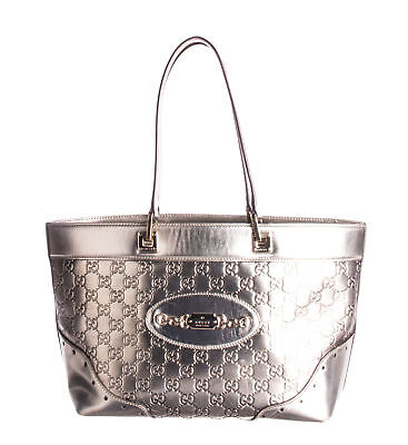 2387a20a47cb YVES SAINT LAURENT Metallic Silver Pebbled Leather Oversized Muse ...