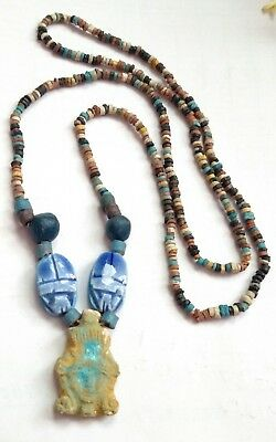 "Queen Cleopatra Egyptian Pharaoh's Necklace, Mummy Beads Terracotta 30""/M"