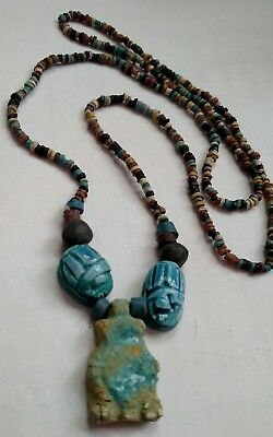 "Egyptian Pharaoh's Necklace, Mummy Beads Terracotta 32"", Queen Cleopatra, /L"