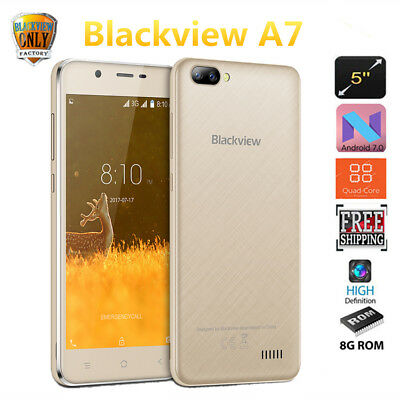 5''HD Blackview A7 3G IPS Android 7.0 MT6580A 1.3Ghz CPU 8Go Smartphone Dual SIM