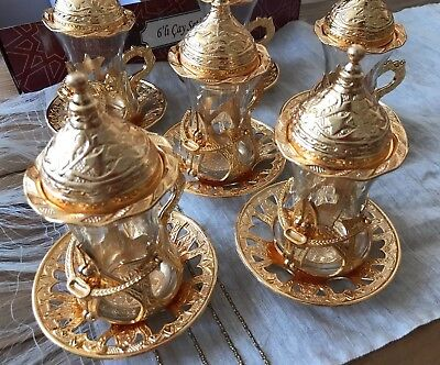 Turkish Tea Set (of 6) Copper Movable Holder Bowl Glass Cup Ottoman Gold Brass