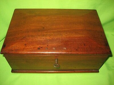 Antique Jewellery / Sewing  19th Century Mahogany Wooden Box With Key