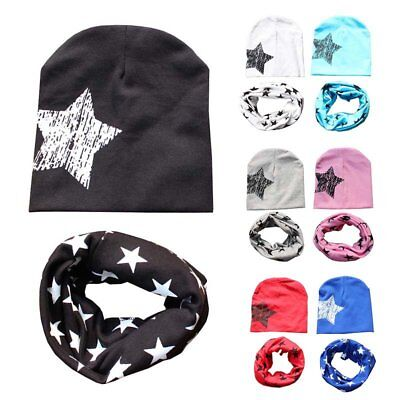 2PC Baby Kids Toddler Star Soft Cotton Hat Cap+Scarf Girl Boy Winter Warm Scarf