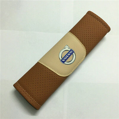 2Pcs Brown High Quality Car Seat Belt Shoulder Cover Pad Fit For Volvo Auto