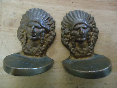 "Pair of Vintage Heavy Cast Brass Indian Chief Head Bookends 3.5"" tall"