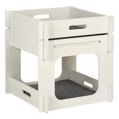 Me & My Pets White Wooden 2 Tier Cat Bed House Play Cave Raised Platform Tower