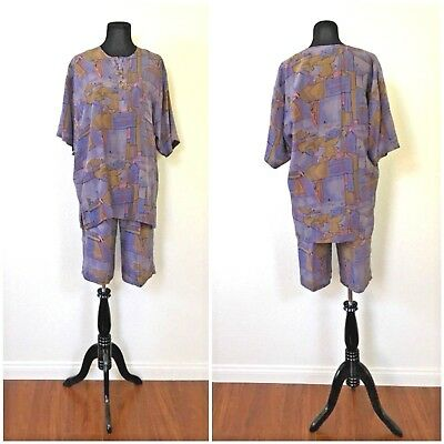 1980s VTG EBELE ABSTRACT SILK CABANA TRAVEL VACATION SHORTS SET MENS MEDIUM EUC