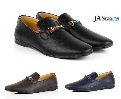 0eab44aa1759 Mens Smart Casual Shoes Italian Loafers Fashion Slip on Leather Moccasin UK  Size