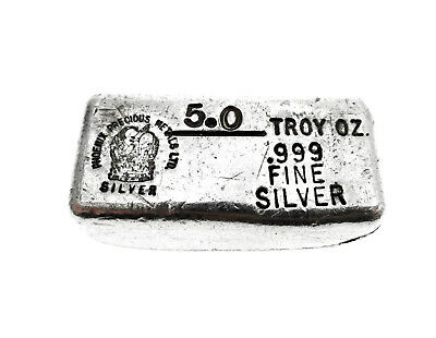 5 oz .999 Fine Silver Phoenix Precious Metals Ltd. Poured Loaf Bar