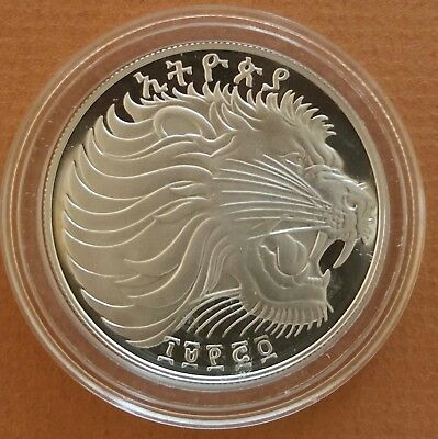Ethiopia 1982 # 20 Birr  Soccer/ Lion of Juda Larrge Silver Coin Proof