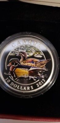 2013 $10. Fine Silver Coin - WOOD DUCK  made by Royal Canadian Mint