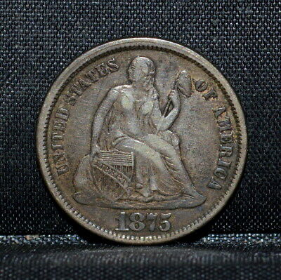 1875-Cc Seated Dime ✪ Vf Very Fine ✪ 10C L@@k Now Mint Mark Above ◢Trusted◣