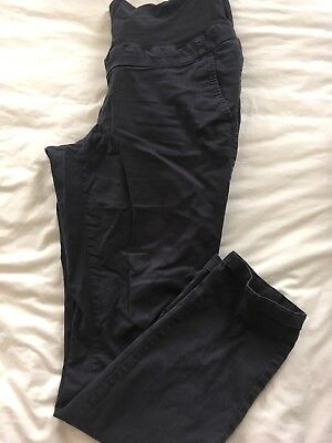 H&M Maternity Chinos Trousers Size 12 Over The Bump Navy
