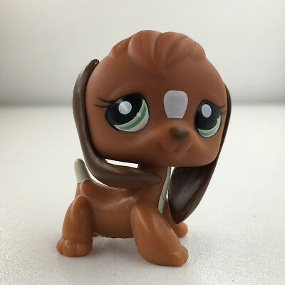 Littlest Pet Shop #1739 Green Eyes Brown White Beagle Dog Puppy Has bro LPS Toys