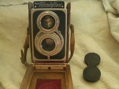 Vintage Super Ricohflex Camera with Case and Lens Cover