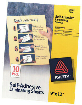 Avery Dennison 73603 Avery Self-Adhesive Laminating Sheets 9x12 10/Pkg-