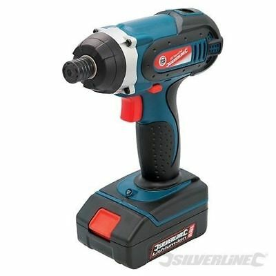 "New Impact Driver 18V Li-Ion Battery 1Hr Charger 1/4"" Hex Bit Silverline 268895"