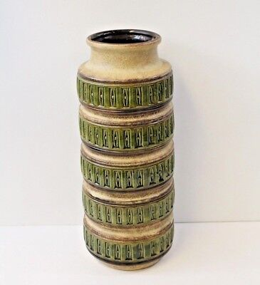 Mid Century 60s 70s XL West Germany Pottery Green Vase By Scheurich Retro