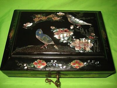 Antique  Chinese/  Japanese Mother Of Pearl Inlaid  Black Lacquer Wooden  Box
