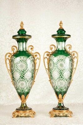 French Cut Glass Vases Urns Louis XV Classic Amphora
