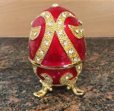 Chinese Cloisonne Inlaid Rhinestone egg Jewelry Box