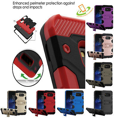 Samsung GALAXY J3 2018 V Shockproof Impact HYBRID Armor Rugged Case Cover Stand