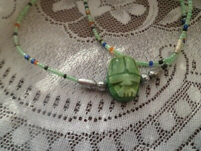 """Necklace with Scarab Egyptian Beetle Style Hand made Pendant 18"""""""
