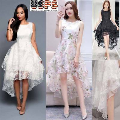 Women's Formal Lace Dress Prom Evening Party Cocktail Bridesmaid Wedding Gown US
