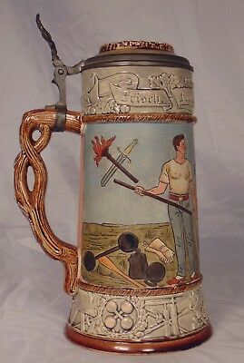 German JW Remy 0.5 liter Lidded Beer Stein Gymnastics Athletic Club 1452
