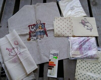 Cross Stitch Lot Finished + Unfinished Pieces New Fabric Needles