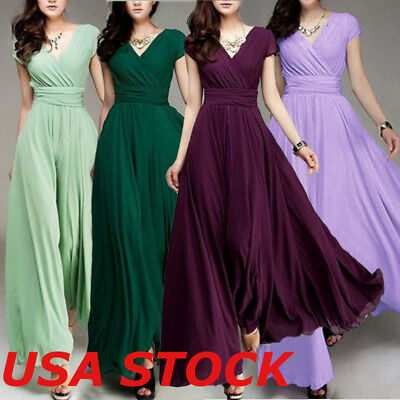 Women Holiday Bridesmaid Long Evening Party Ball Gown Cocktail Maxi Dress Summer