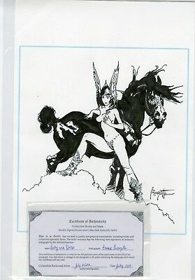 "Frank Frazetta 11"" X 17"" Black India Ink Pen And Ink Art Includes Coa"
