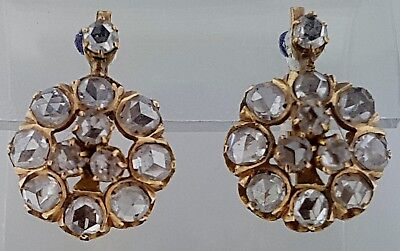 Antique Victorian Earrings~18k Yellow Gold w/Rose Cut Diamonds~2.0 Carats~c 1880