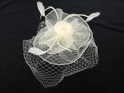 White Flower Lace Cocktail Evening Tea Party Clip Hat Feather Mesh Fascinator