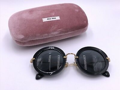 30e0e3c39e4b9 MIU MIU WOMEN Sunglasses ROUND SMU13N 1AB-1A1 GOLD BACK  GRAY AUTHENTIC
