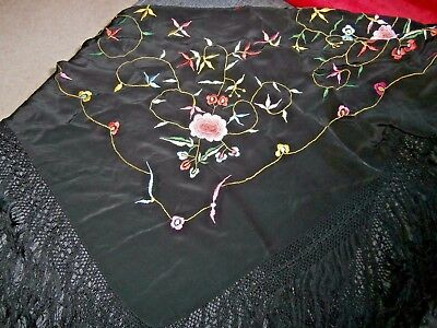 Vintage Chinese Black Silk/crepe Embroidered Piano Shawl Macrame Tassel Edges