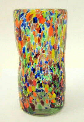 Oregon Hand Blown Glass Vase Orange Yellow Blue Abstract Pattern 6.5 In. Tall