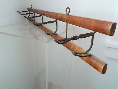 Antique Oak Hat Coat Rack Wall with Swivel Iron Hooks Clothes Hanger Vintage