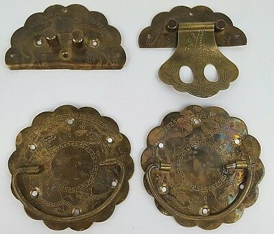 Lot of Vintage Handmade Engraved Brass Drawer Pull Parts Salvaged 4 Pieces