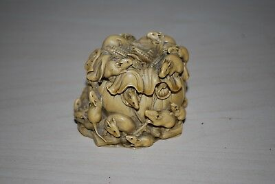 Netsuke Large Composite Carving Of Mice On Bag Of Corn