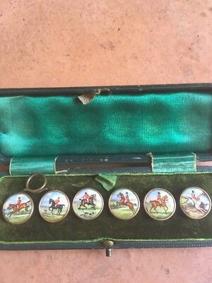 Antique 6 buttons hand painted jockey on horse in original case