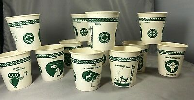 12 1950s GREEN CROSS Safety COMIC Cartoon 3 oz DIXIE Paper CUPS Vintage Original