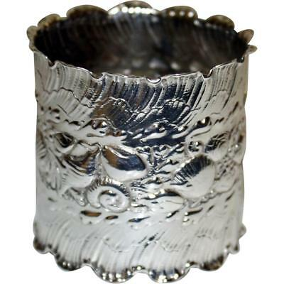 1888 Antique Gorham Sterling Napkin Ring, Sea Shells & Wave Design