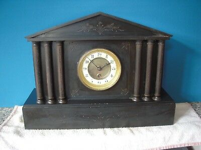 Antique Black Slate Mantel Clock